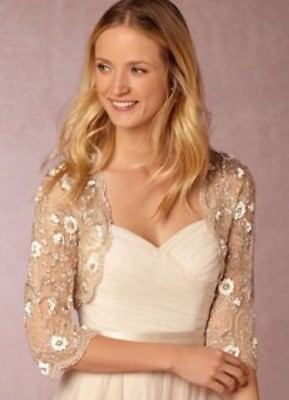 NWT BHLDN MOYNA COUTURE BEADED CAPELET SHRUG S GRAY WEDDING TOPPER Embellished