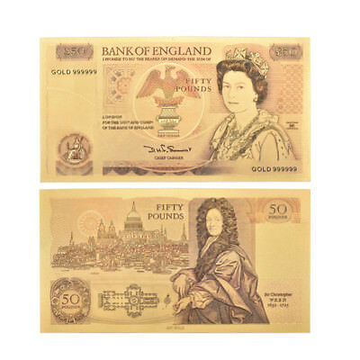 WR Great Britain UK 50 Pound Color Gold Banknote QE II Money Collection Souvenir
