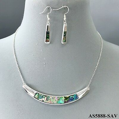 Silver finished  Mother of Pearl  Crescent  Pendant Necklace with Earrings Set