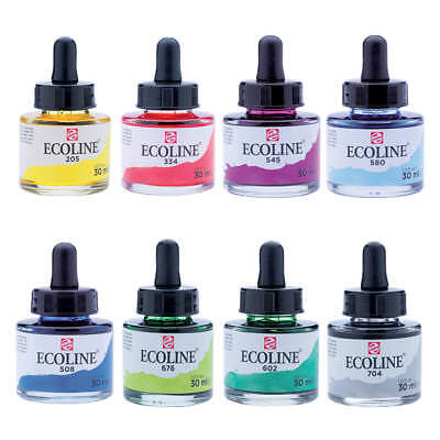 Talens Ecoline Liquid Dye-Based Watercolour Paint Ink 30ml 60 Colours Available