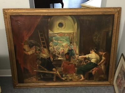 Antique Victorian Oil On Canvas Famous Genre  Painting The Spinners