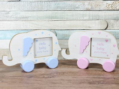 Pink Or Blue Baby Elephant Photo Frame Nursery Gift Girl Boy 2.5x2.5""