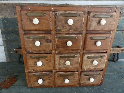primitive antique early wall / shelf spice cabinet apothecary chest square nails
