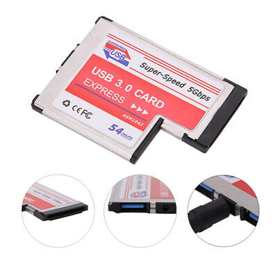 USB 3.0 Expansion PCMCIA Express Card 2-Port Laptop NEC Chip Adapter + Drive CD
