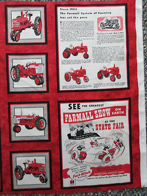 Farmall Vintage Tractor Advertising 6 Block Panel Cotton Fabric Panel