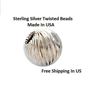 Sterling Silver Round Twisted Beads Choose Size & QTY. 4,5,6, MM