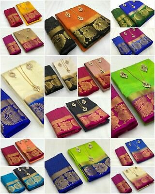 New Pakistani Indian Tussar Silk Saree Fancy Ethnic Designer Bollywood Sari