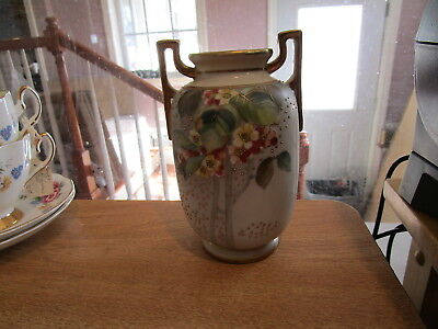 Antique Nippon Moriage Hand Painted Pierced Footed Vase 6541