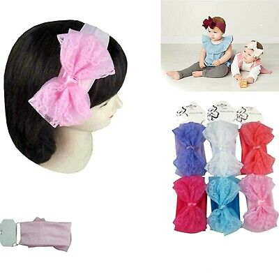6pc Toddler Girl Baby Kids Big Bow Infant Headband Stretch Turban Knot Head Wrap