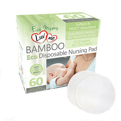 60 x LuvMe BAMBOO Disposable BREAST PADS + Dr. Browns Breast Pad Case