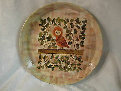 Vintage Owl in Tree Retro English Worcester Ware Metal Serving Tray 1960s/1970s