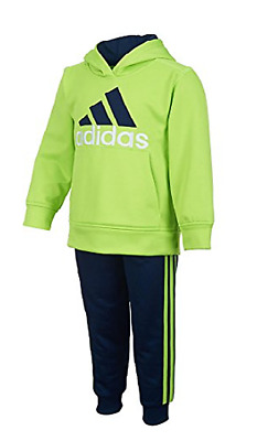 Adidas Youth Boys 2PC Fleece Athletic Set Neon Green and Navy