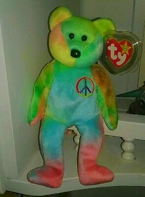 Ty Beanie Baby Babies~PEACE BEAR~5th Gen. Solid Blue Body~Error Tag~BEAUTIFUL