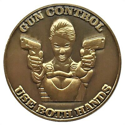 Gun Control Use Both Hands Head Tail Lucky Challenge Coin US SELLER FAST SHIPPIN