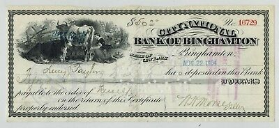 Binghamton NY 1904 City National Bank Check $50 Deposit Cows Vignette