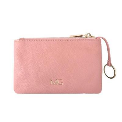 PERSONALISED MONOGRAM Womens Ladie Pebble Leather Coin Pouch in Blush Pink Gift