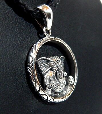 Quality 1 inch Beautiful Silver Lord Ganesh Pendant Necklace. Handmade in Nepal.