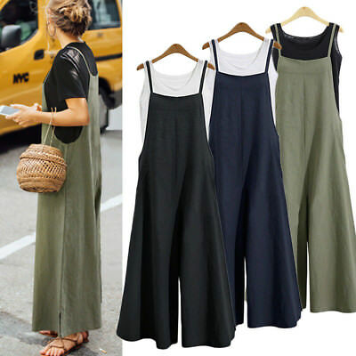 Women Casual Cotton Overalls Jumpsuit Strap Rompers Dungaree Oversized Trousers