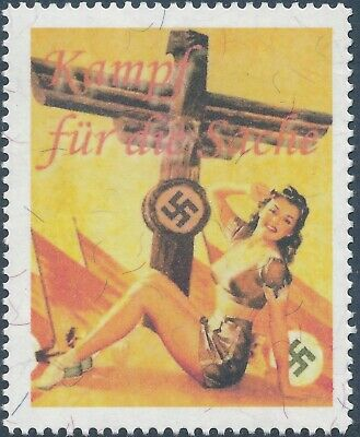 Artist Stamp Replica Poster Label Germany 103 WWII 3rd Reich Nazi Flag Dame MNH