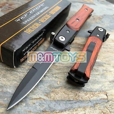 TAC-FORCE Spring Assisted Spear Point Blade Tactical Rescue Pocket Knife -Brown-