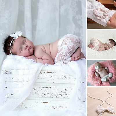 UK Newborn Baby Photography Props Costume Outfits Crochet Lace Pants+Headdress