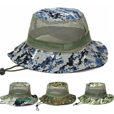 Men s Camouflage Jungle Wide Brim Hat Hunting Camping Fishing Mesh Bucket  Cap 2be591623bf4