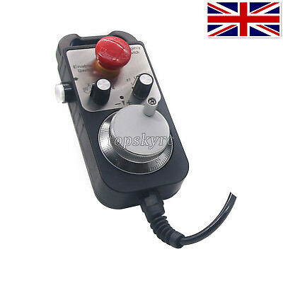 Universal 5V 100PPR CNC 4 Axis MPG Pendant Handwheel and Emergency Stop UK