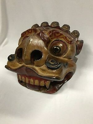 Vintage Balinese Wood Carved Head Dress Of A Dragon