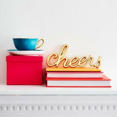 Bombay Duck Cast 'Cheers' Word in Gold Brass - Room Plaque Wall Decoration