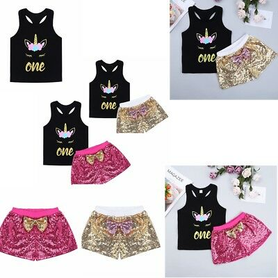 Infant Baby Girl Vest Tops T-shirt Sequins Short Pants Headband Outfit Clothes