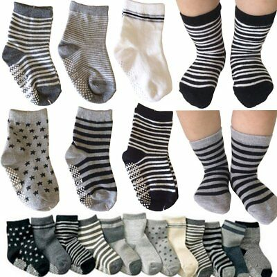 6 Pairs Assorted Non Skid Ankle Cotton Socks Baby Toddler Anti Slip Stretch Knit