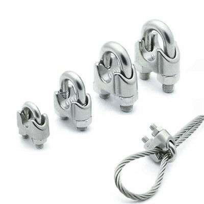1/3x 304 Stainless Steel Wire Rope Grip U-Shaped Cable Clip Clamp M2 M3 M4 M5