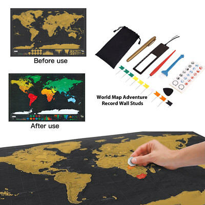 8 Personalized Travel Atlas Scratch Off World Map Line Planning Marking Tool Set