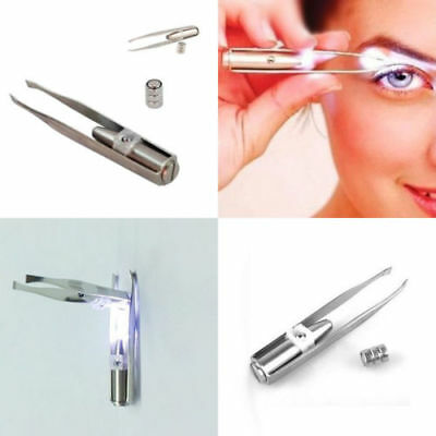Lady Eyelash Eyebrow Hair Removal Tweezers Remover Make Up Tool With LED light