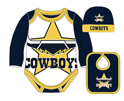 North Queensland Cowboys NRL Bodysuit Hat Bib Gift Pack 2018 size 00