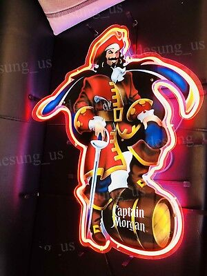 "New Captain Morgan Rum Bar Neon Sign 24"" with HD Vivid Printing Technology"