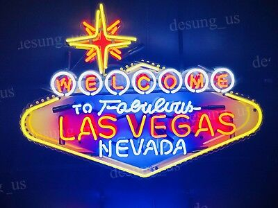 "New Welcome to Fabulous Las Vegas Light Neon Sign 24"" with HD Vivid Printing"