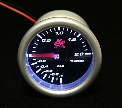 2.045'' 52mm BAR LED7707 TURBO BOOST VACUUM GAUGE CAR LED WHITE LED LIGHT DIAL