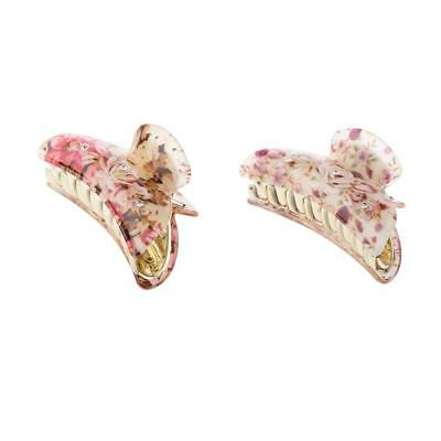 Baoblaze 2Pcs Floral Print Colorful Jaw Gripper Claw Hair Clip Accessories