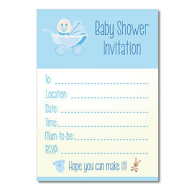 Baby Shower Invitations - 16 A6 Cards - BLUE Pram Theme - Boys Party Invite