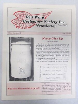 Red Wing Collectors Newsletter June July 1995 Lily Crock USA Pottery