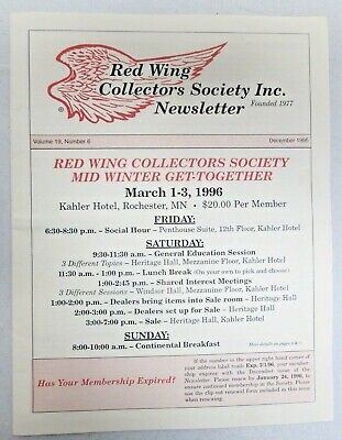 Red Wing Collectors Newsletter December 1995 USA Art Pottery