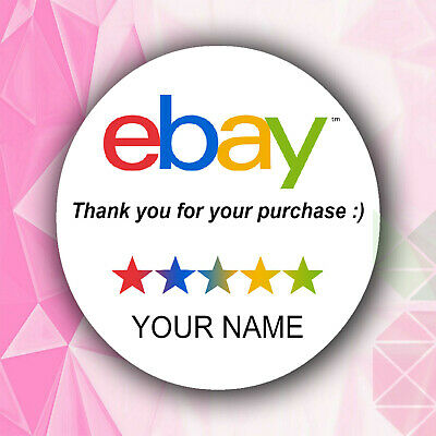 Ebay thank you round labels personalised stickers for postage mail ebay