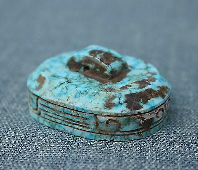 55mm Collect Chinese Hu Bei Pure Old turquoise Hand-carved Seal Stamp Sculpture