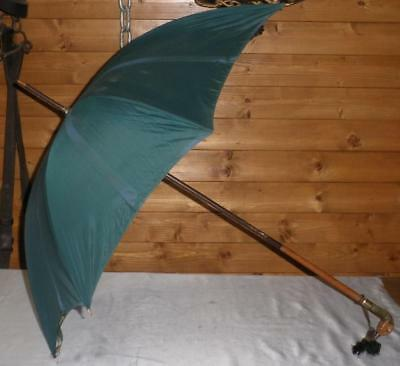 Vintage Green Canopy Umbrella W/ Superb Hand Carved Birds Head Handle Glass Eyes