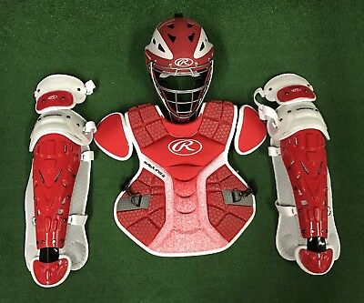 Rawlings Velo Youth Catcher's Gear Set - Red White