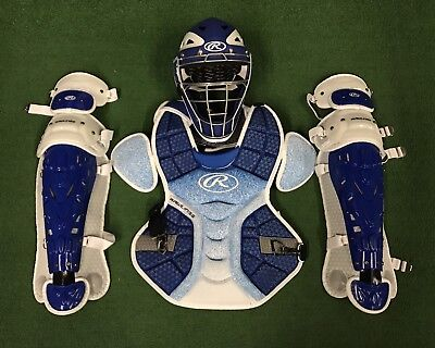 Rawlings Velo Youth Catcher's Gear Set - Royal White