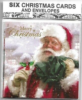 Pack Of Six Traditional  Santa Claus & Snowman Christmas Cards & Envelopes