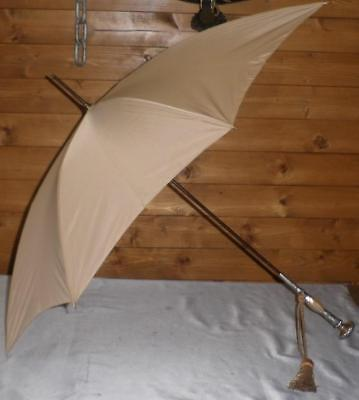 Vintage Superb Beige Canopy Umbrella W/ Sterling Silver & Mother Of Pearl Handle