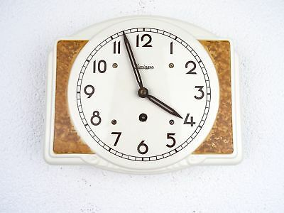 Kieninger German WW2 Antique Ceramic Kitchen Wall Clock | Kienzle Junghans era